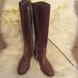 Michael kors leather boot with gold hardware